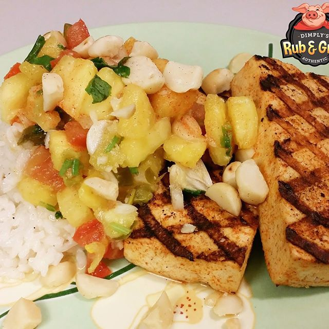 Jerk Tofu with Grilled Pineapple